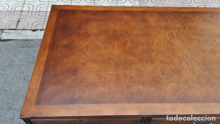 Antigüedades: Mesa de despacho antigua estilo regencia. Escritorio antiguo estilo inglés. Mueble estilo barco - Foto 12 - 148087686