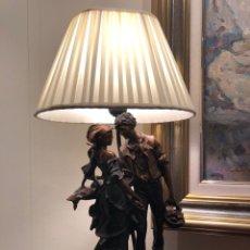 Antigüedades: LAMPARA FIGURA DE BRONCE. Lote 148095344