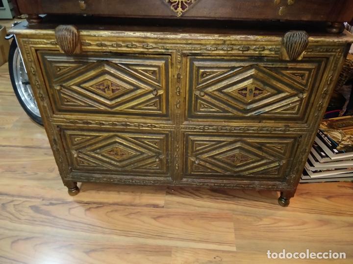 Antigüedades: Bargueño papelera Salmantino con herrería original S.XVI/XVII dos piezas. - Foto 4 - 154493005