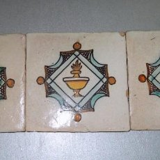 Antigüedades: LOTE ANTIGUOS AZULEJOS CERÁMICA CATALANA FINALES S. XVIII. Lote 148165310
