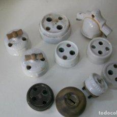 Antigüedades: LOTE DE 10 ELEMENTOS DE ELECTRICIDAD- DE PORCELANA Y METALICOS. Lote 148165634