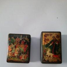 Antigüedades: PAREJA DE CAJITAS RUSAS EN MADERA LACADA Y PINTADAS A MANO Y CON CERTIFICADO.. Lote 148181398