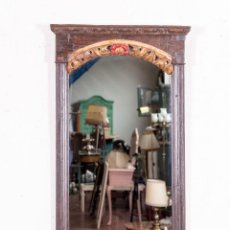 Antigüedades: ESPEJO ANTIGUO POLICROMADO Y TALLADO. Lote 148190406
