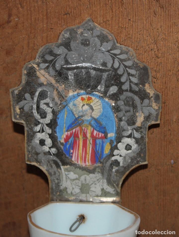 Antigüedades: BENDITERA DE OPALINA DE LA GRANJA CON VIRGEN PINTADA. SIGLO XIX. - Foto 4 - 148201462