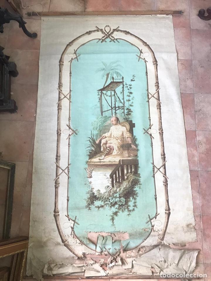 CUBREVENTANA O ADORNO PARA PARED CON CHINERIAS. S.XIX. (Antigüedades - Hogar y Decoración - Cortinas Antiguas)