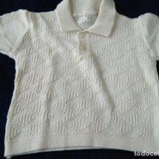 Antigüedades: JERSEY INFANTIL PUNTO DE ALGODÓN CON DIBUJO. MANGA CORTA 24 X 26 CM. AÑOS 1960. Lote 148226146