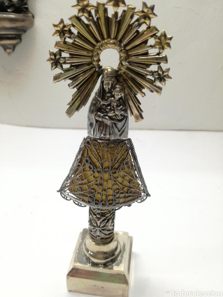 PRECIOSA VIRGEN DEL PILAR ANTIGUA EN PLATA (Antigüedades - Religiosas - Orfebrería Antigua)