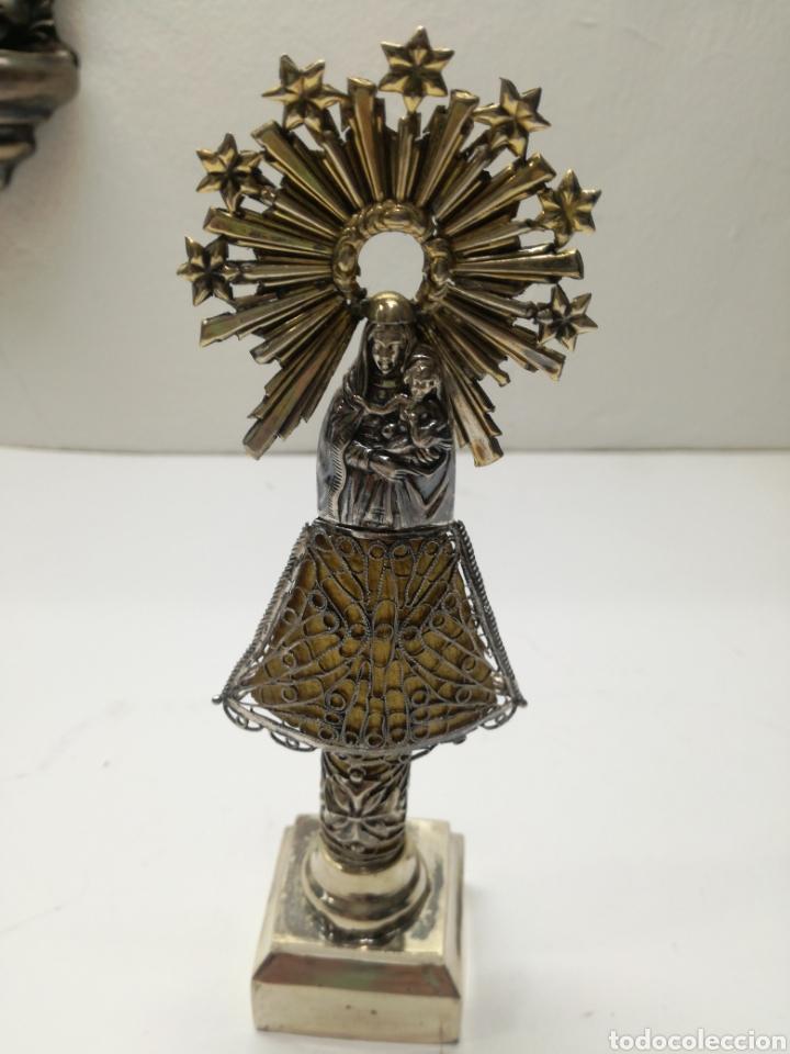 Antigüedades: Preciosa Virgen del Pilar antigua en plata - Foto 2 - 148283310