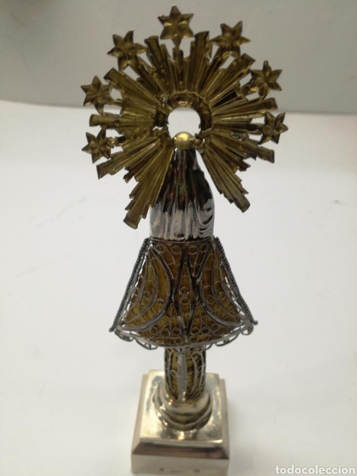 Antigüedades: Preciosa Virgen del Pilar antigua en plata - Foto 5 - 148283310