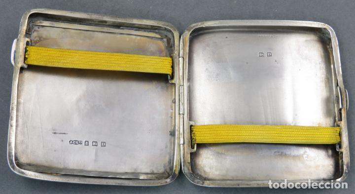 Antigüedades: Pitillera en plata grabada inglesa hacia 1900 - Foto 4 - 148290114