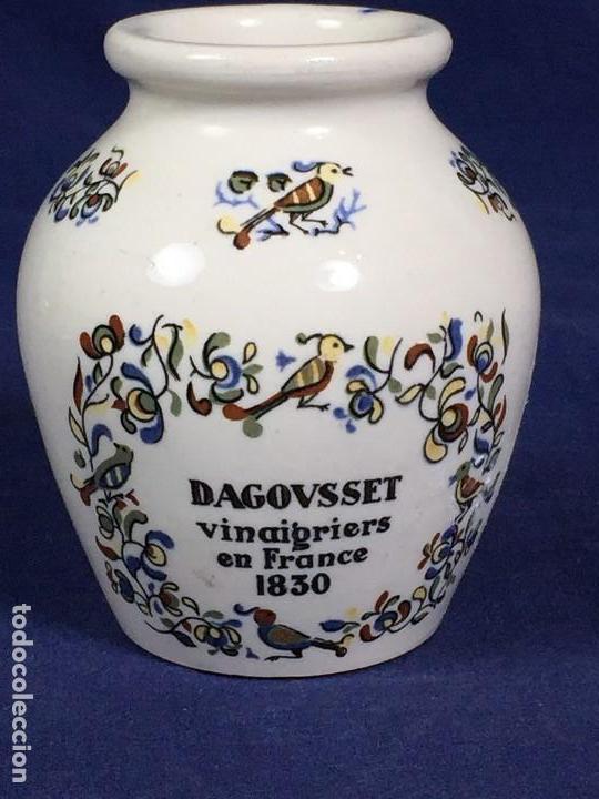 ANTIGUO BOTE DE MOSTAZA DIGOIN PIKAROME SELLADA SARREGEMINES CERAMICA PORCELANA FRANCESA AÑOS 50 (Antigüedades - Porcelana y Cerámica - Francesa - Limoges)