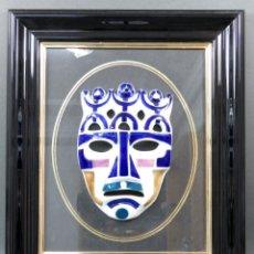 Antigüedades: MÁSCARA CARETA NÚMERO 4 EL REY DE CERÁMICA ESMALTADA SARGADELOS SIGLO XX. Lote 148306290