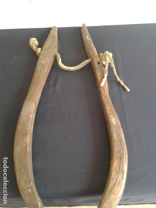 Antigüedades: PAREJA COSTILLAS COLLERA CABALLO TERABITAS EN MADERA - Foto 4 - 147761162
