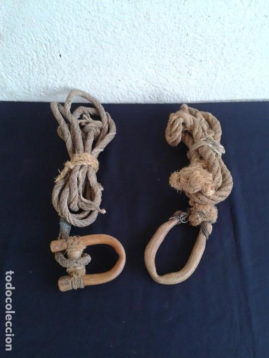 Antigüedades: PAREJA COSTILLAS COLLERA CABALLO TERABITAS EN MADERA - Foto 5 - 147761162