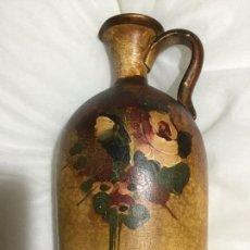 Antigüedades: VASIJA FLORERO DE BARRO PINTADO MANO ANTIGUA. Lote 148369068