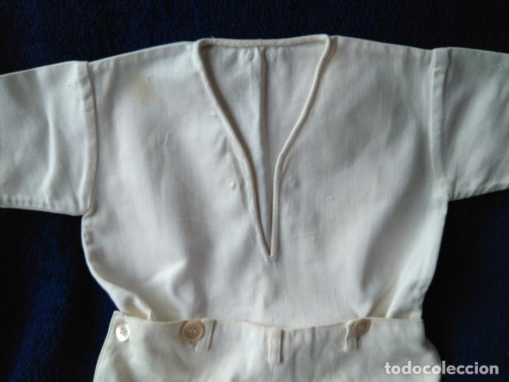 Antigüedades: Antiguo conjunto de camisa y pantalón blancos. hechura casera. h. 1940-50 - Foto 2 - 148372122