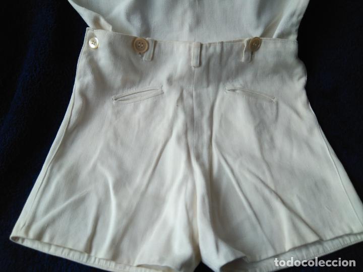 Antigüedades: Antiguo conjunto de camisa y pantalón blancos. hechura casera. h. 1940-50 - Foto 3 - 148372122