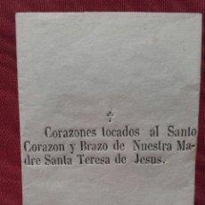 Antigüedades: CORAZONES TOCADOS AL SANTO CORAZÓN Y BRAZO DE NUESTRA MADRE SANTA TERESA DE JESÚS.. Lote 148415250
