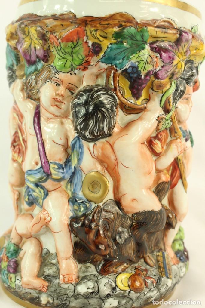 Antigüedades: Tibor Capodimonte. Escena de querubines en cuerpo,pan de oro mediados s XX - Foto 6 - 148421486