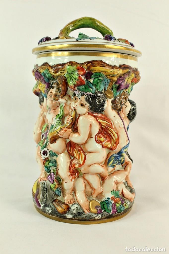 Antigüedades: Tibor Capodimonte. Escena de querubines en cuerpo,pan de oro mediados s XX - Foto 8 - 148421486