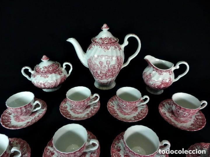 Antigüedades: Juego de café o té en loza inglesa Johnson Bros Coaching Scenes. 10 servicios. - Foto 4 - 148422290