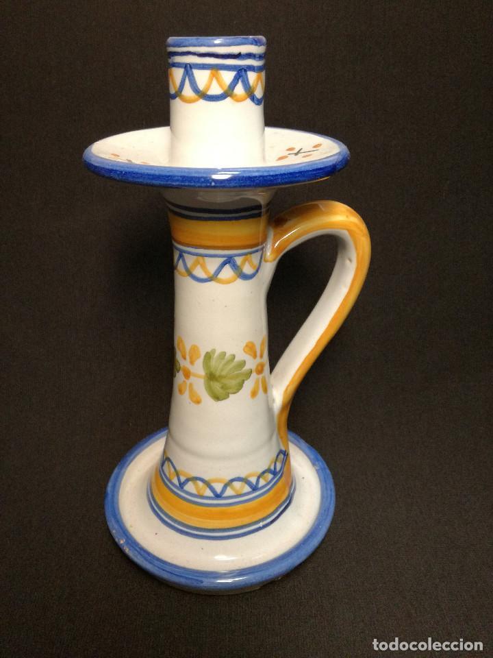 PORTAVELAS CERAMICA - SELLO TA - TALAVERA SPAIN 21 (Antigüedades - Porcelanas y Cerámicas - Talavera)
