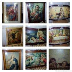 Antigüedades: (9)ANTIGUOS CUADROS RELIGIOSOS, GRANDES.. Lote 148475078
