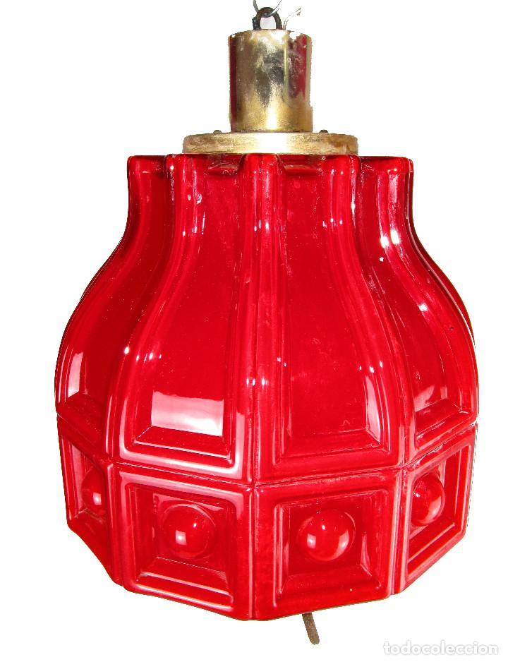 LAMPARA ANTIGUA ESTILO VINTAGE OPALINA ROJA COMPLETA MITICA HELENA TYNELL (Antigüedades - Iluminación - Lámparas Antiguas)