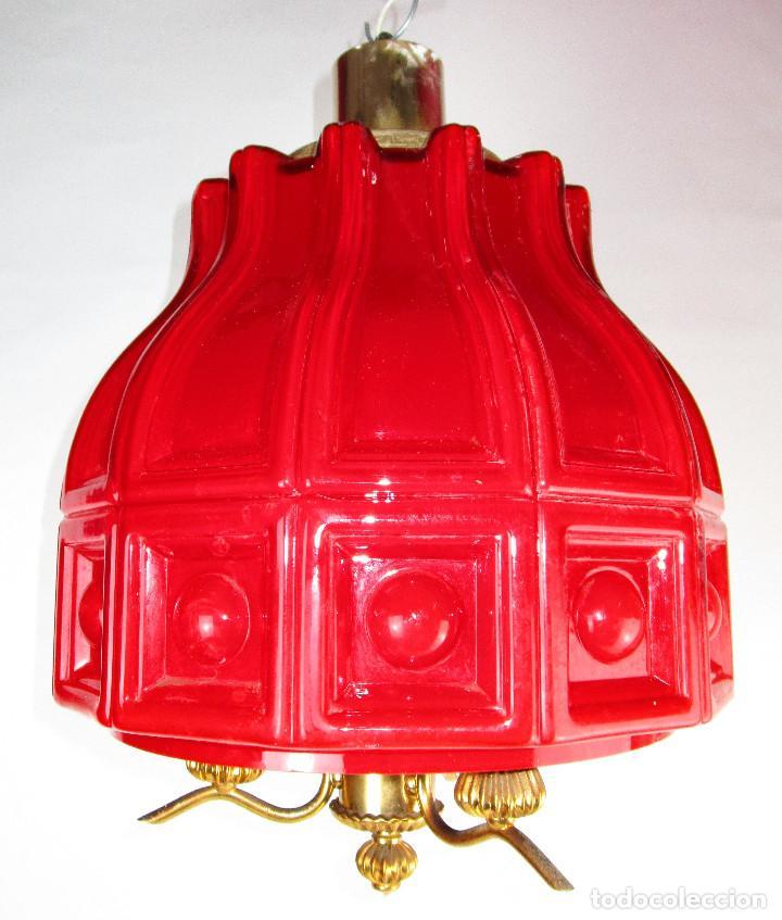 Antigüedades: LAMPARA ANTIGUA ESTILO VINTAGE OPALINA ROJA COMPLETA MITICA HELENA TYNELL - Foto 2 - 148538758