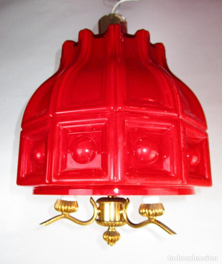 Antigüedades: LAMPARA ANTIGUA ESTILO VINTAGE OPALINA ROJA COMPLETA MITICA HELENA TYNELL - Foto 3 - 148538758