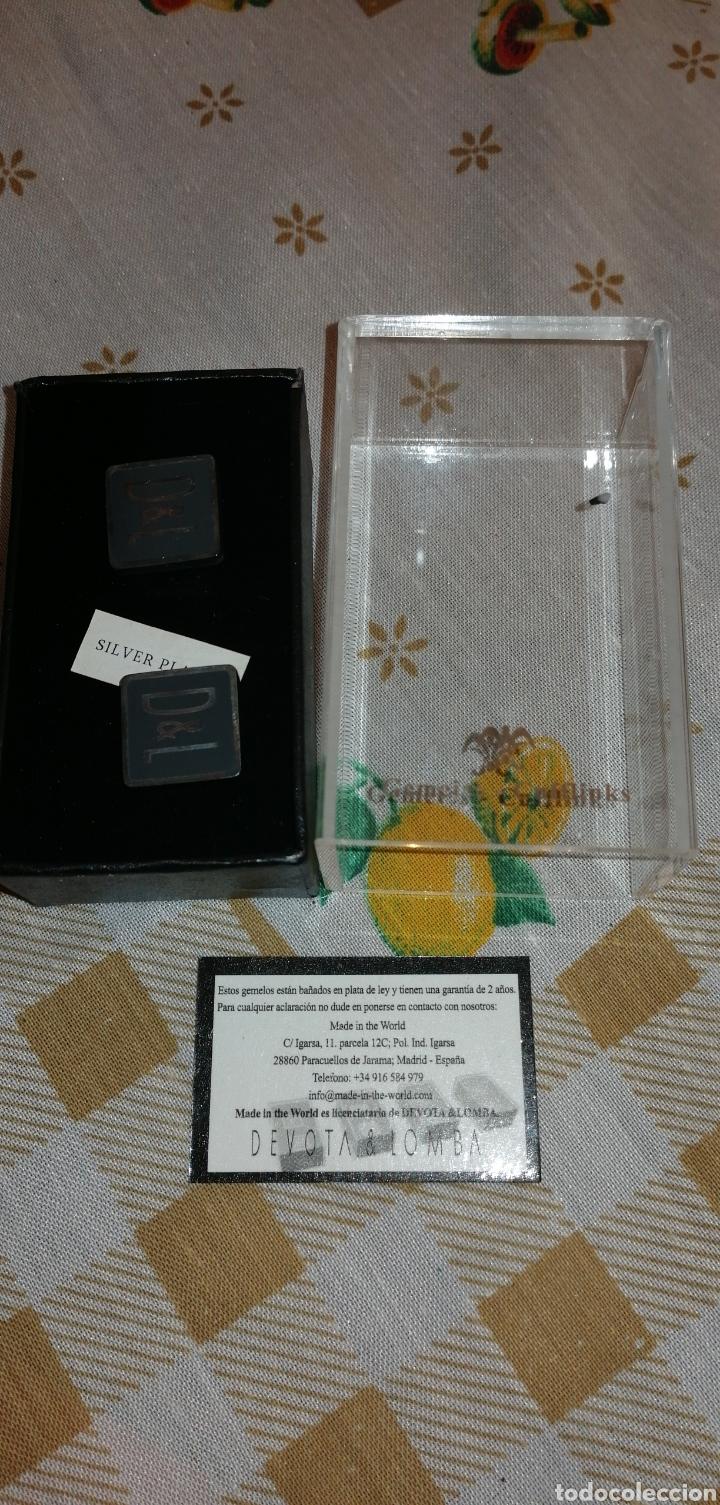 GEMELOS BAÑO EN PLATA DE PRIMERA LEY MARCA DEVOTA&LOMBA (Antigüedades - Moda - Gemelos Antiguos)