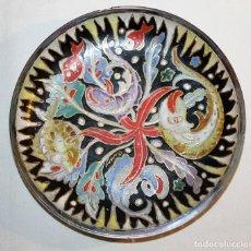 Antigüedades: GENIS CIRERA CASANOVAS (1890-1970) - PLATO EN CRISTAL PINTADO Y ESMALTADO A MANO - AÑOS 30/40. Lote 148559922