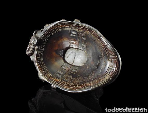 Antigüedades: Vieja Copa china de libación de cuerno tallado Dragones Chilong, máscara Taotie. Chinese Ox Horn Cup - Foto 3 - 148570313