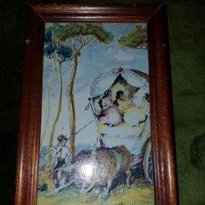 Antigüedades: AZULEJO PINTADO Y FIRMADO POR VICENTE FLORES NAVARRO. Lote 148575350