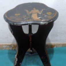 Antigüedades: PEANA, BANQUETA, LACADA CON DIBUJOS ORIENTALES. Lote 148583798