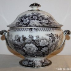 Antigüedades: SOPERA EN PORCELANA FRANCESA - JARDINIERE SARREGUEMINES - SIGLO XIX. Lote 148596702