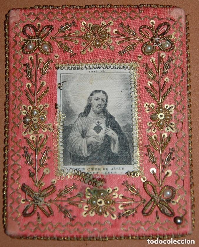 ESCAPULARIO SAGRADO CORAZON DE JESUS SIGLO XIX (Antigüedades - Religiosas - Escapularios Antiguos)