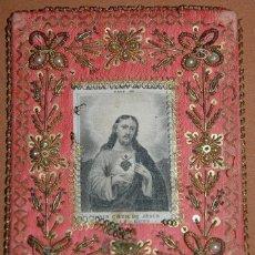 Antigüedades: ESCAPULARIO SAGRADO CORAZON DE JESUS SIGLO XIX. Lote 148598778