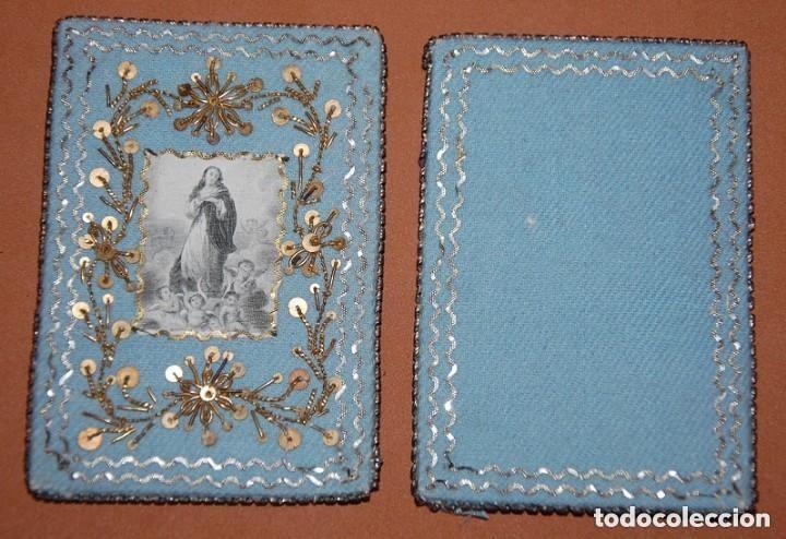 Antigüedades: ESCAPULARIO DEL SIGLO XIX DEDICADO A LA INMACULADA CONCEPCION - Foto 2 - 148598802