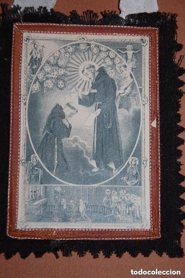 Antigüedades: ESCAPULARIO DE LA VENERABLE ORDEN TERCERA FRANCISCANA SIGLO XIX - Foto 3 - 148598954