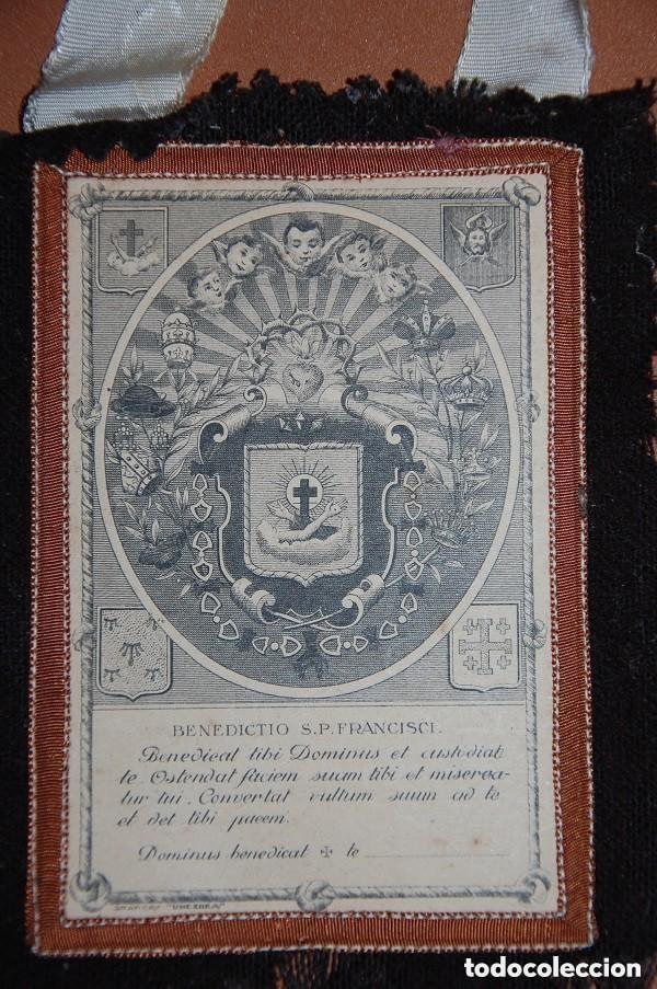 Antigüedades: ESCAPULARIO DE LA VENERABLE ORDEN TERCERA FRANCISCANA SIGLO XIX - Foto 4 - 148598954