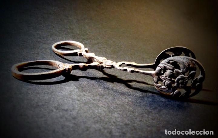 Antigüedades: Preciosas Pinzas Antiguas Ornamentadas de Plata de ley ANTIQUE UNIQUE - Foto 2 - 148649158
