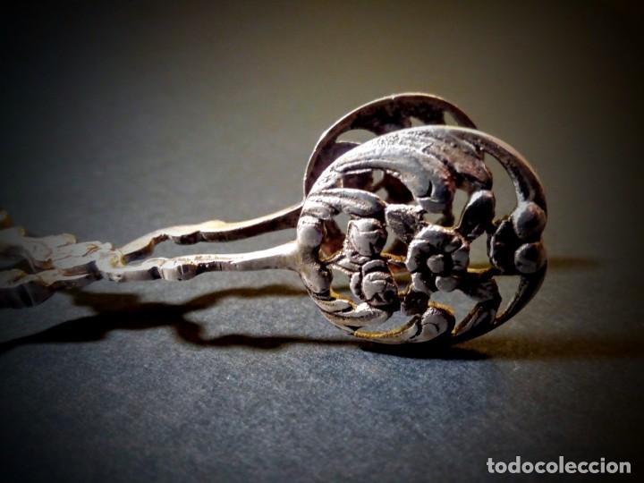 Antigüedades: Preciosas Pinzas Antiguas Ornamentadas de Plata de ley ANTIQUE UNIQUE - Foto 3 - 148649158
