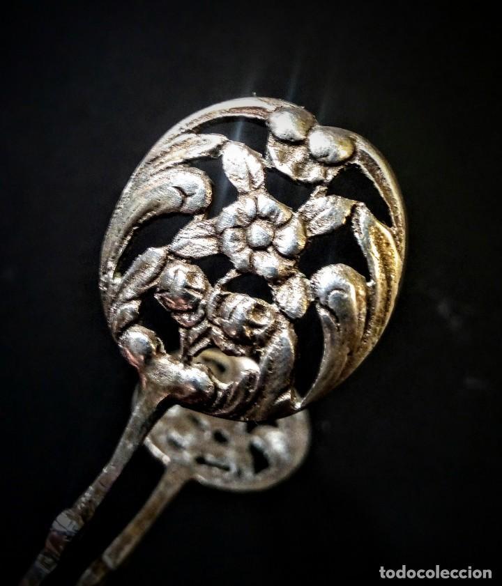 Antigüedades: Preciosas Pinzas Antiguas Ornamentadas de Plata de ley ANTIQUE UNIQUE - Foto 6 - 148649158