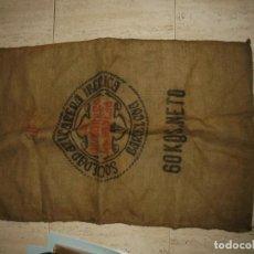 Antigüedades: ANTIGUO SACO DE AZUCAR.AZUCARERA DE LA BAÑEZA.SOCIEDAD AZUCARERA IBERICA.BARCELONA SACO DE 60 KG. Lote 175546623