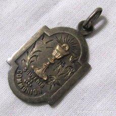 Antigüedades: RECUERDO SOUVENIR EN PLATA Y ORO 1ª COMUNIÓN 1896. Lote 148686578