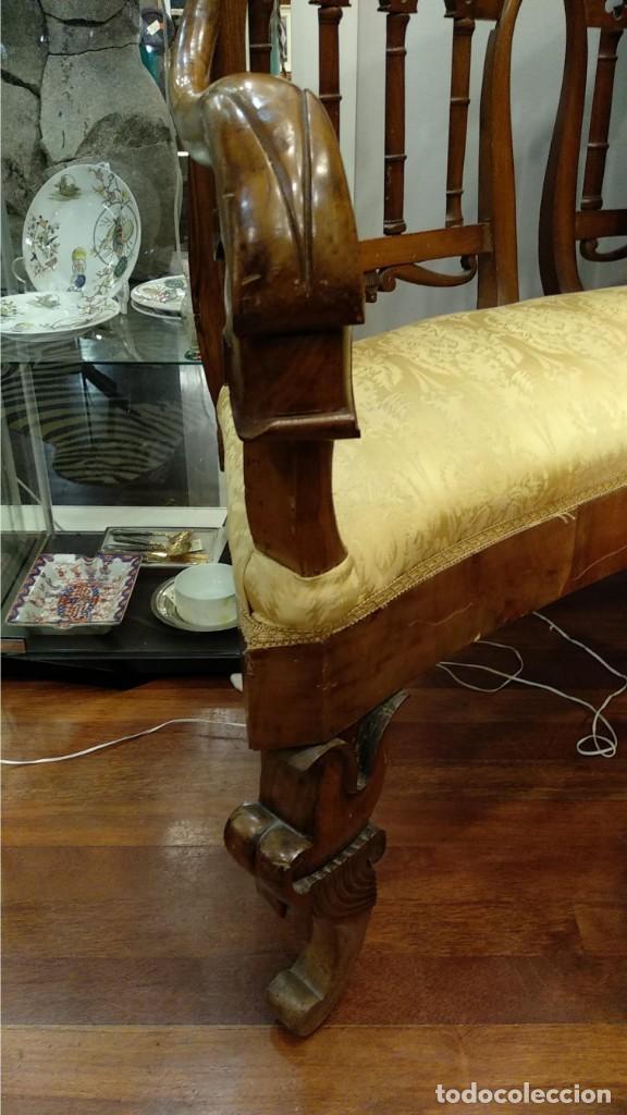 Antigüedades: Banco estilo Fernandino- 1830- madera de nogal - Foto 3 - 148766426