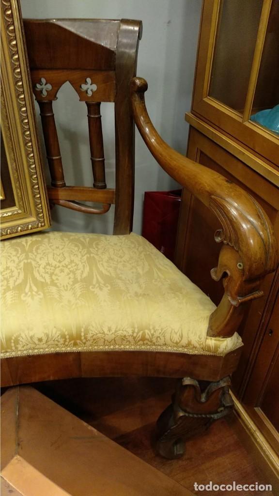Antigüedades: Banco estilo Fernandino- 1830- madera de nogal - Foto 5 - 148766426
