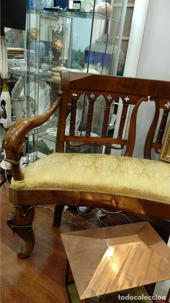 Antigüedades: Banco estilo Fernandino- 1830- madera de nogal - Foto 6 - 148766426