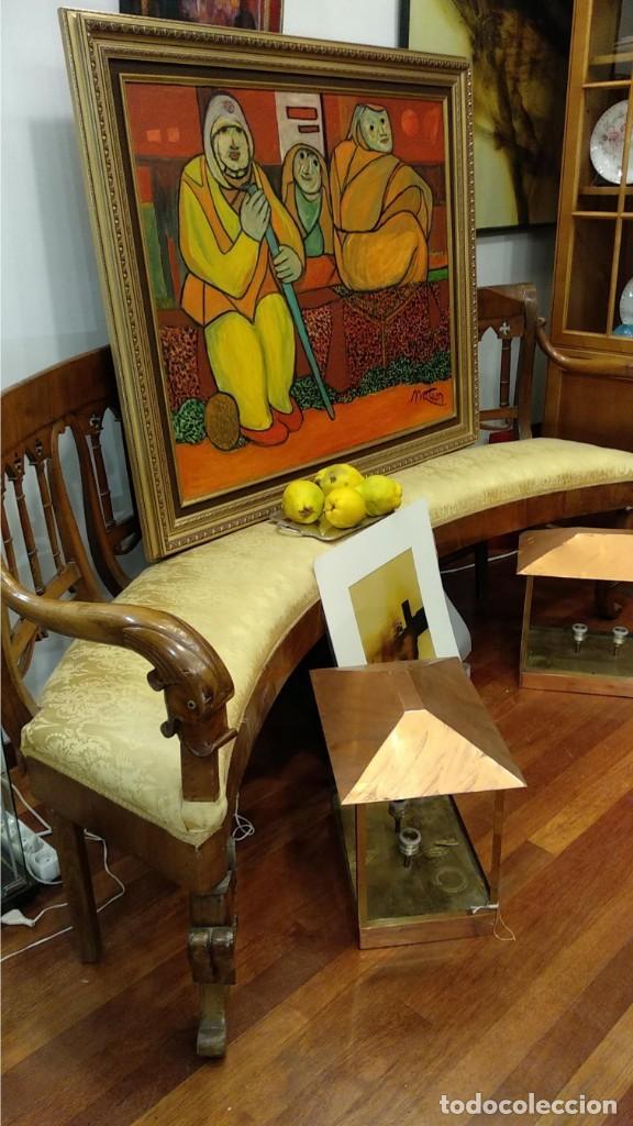 Antigüedades: Banco estilo Fernandino- 1830- madera de nogal - Foto 7 - 148766426